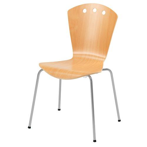 Stylowe buk krzesło ze stelażem w kolorze aluminium