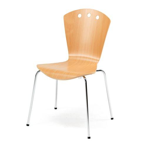 Stylowe buk krzesło ze stelażem w kolorze chrom