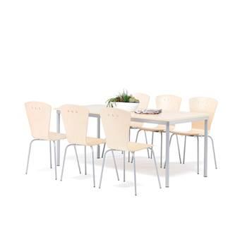 Lunchrumsgrupp: 1 bord, 1800x800 mm, 6 stolar, björk/alu