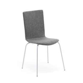 Klädd stol med alugrått stativ