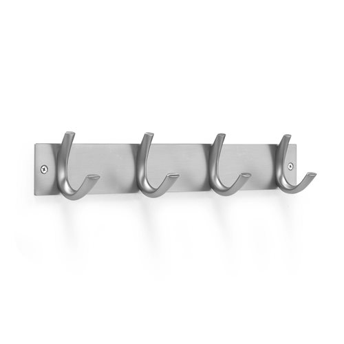 Wall mounted coat rail: 4 hooks