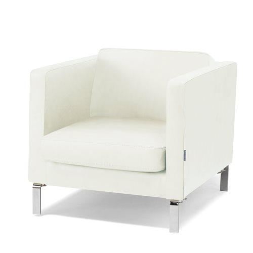 Nojatuoli, nahka, valkoinen, kromi
