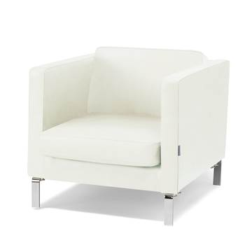 Waiting room armchair, leather, white