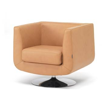 Square tub armchair, tan leather