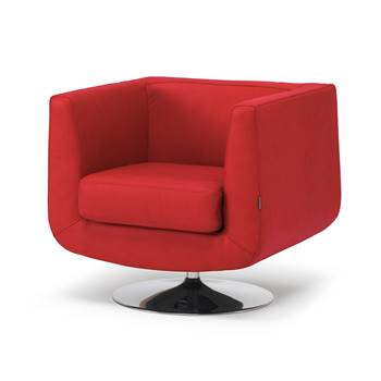 Square tub armchair, red leather