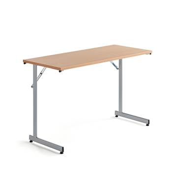 Basic conference table, 1200x500x730 mm, beech, alu grey