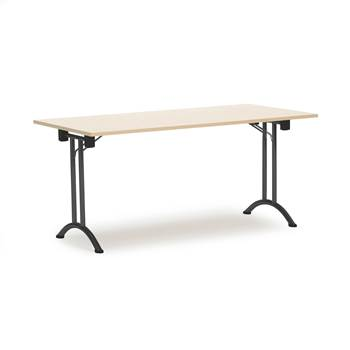 Folding conference tables, 1600x800x735 mm, birch, black