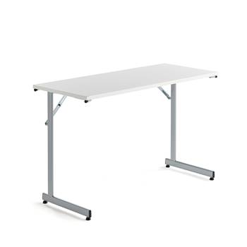 Basic conference table, 1200x500x730 mm, white, alu grey