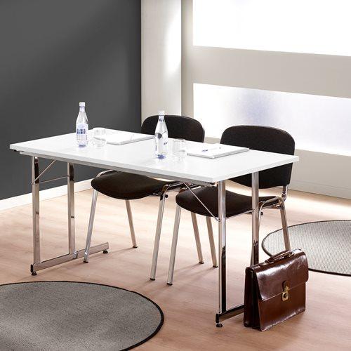 Neuvottelupöytä, taitettava, 1400x700 mm, valkoinen laminaatti, kromi