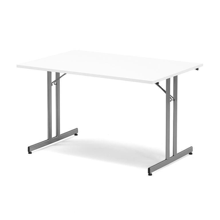 Stół konferencyjny / stołówkowy, składany, 1200x800 mm, biały, aluminium