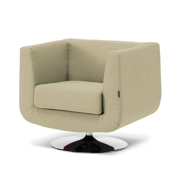Pyörivä nojatuoli, vaaleanvihreä, kangas, kromi
