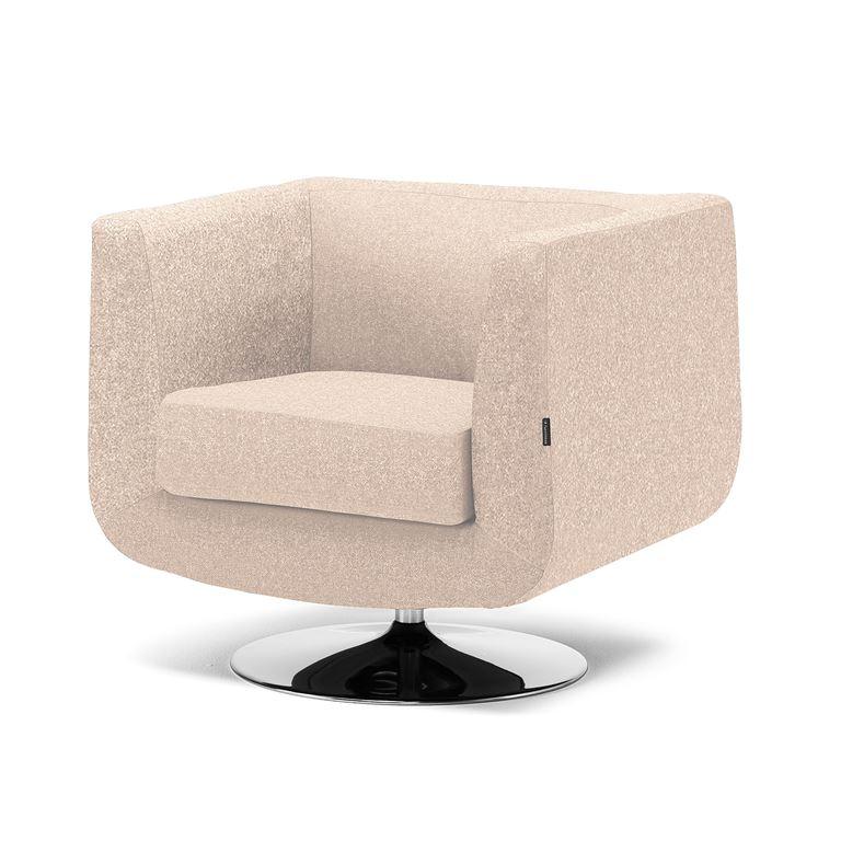 Pyörivä nojatuoli, beige, villakangas, kromi