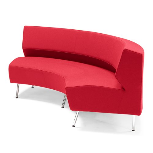 #en Sofa curved inward, Red, 2300 mm