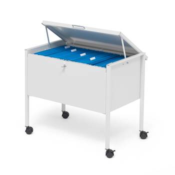 Filing trolley, with lockable lid, 655x368x592 mm, light grey