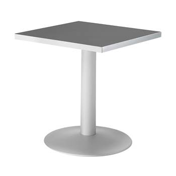 #en Café table in alu laquer with 70x70 36mm thick melamine top