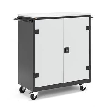 Laptop cabinet, 16 comps, with wheels, 1160x1090x50 mm, grey, black