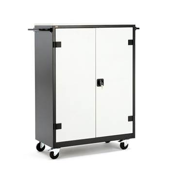 Laptop cabinet on wheel. 20 compartments for laptops. Black frame, grey doo