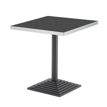 Kafébord, bordplate i svart laminat, 700x700 mm, svart støpejernsfot