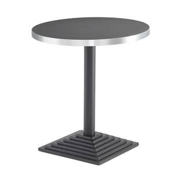 #sv Cafébord med svart stativ och Ø70 tjock melaminskiva