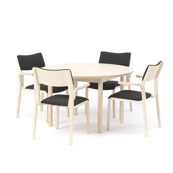 Canteen package deal, Ø 1200 mm birch table + 4 chairs
