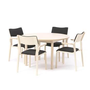 Pakkepris: 1  rundt kantinebord, Ø1200 mm, bjørk + 4 kantinestoler, bjørk/s