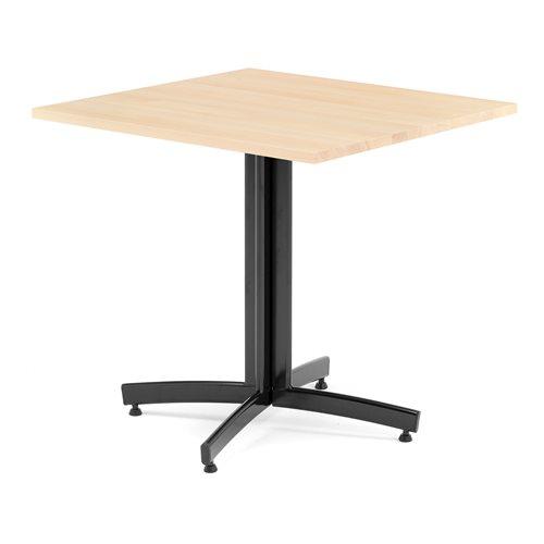 Kahvilapöytä, 700x700 mm, massiivipyökki, musta jalka