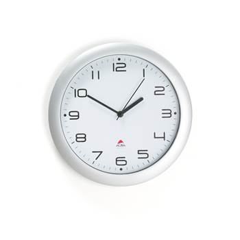 Wall clock ø 30 cm white face/silver frame, silent clock