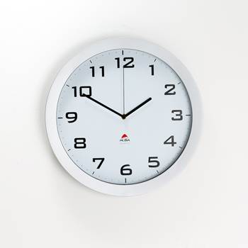 Wall clock ø 38 cm white face/silver frame, silent clock.