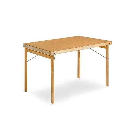 Stół składany o wym.700x1200mm z drewnianymi nogami, Laminat HP