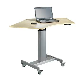Mobile computer workstation, 920x1380 mm, beech