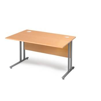 Skrivebord Flexus, med innsynsskjerming, 1200x800 mm, bøk laminat