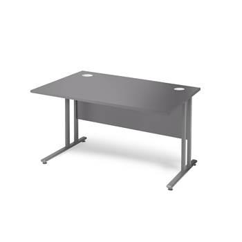 Skrivbord Flexus med rak skiva och insynsskydd, 1200x800 mm, grå laminat