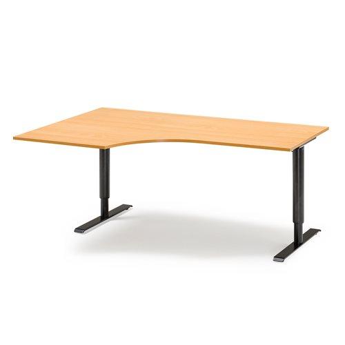 Kulmatyöpöytä, vasen, manuaalinen, 2000x1200 mm, pyökkilaminaatti, musta