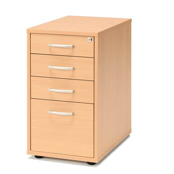 Desk high pedestal, 4 drawers, 720x400x600 mm, beech