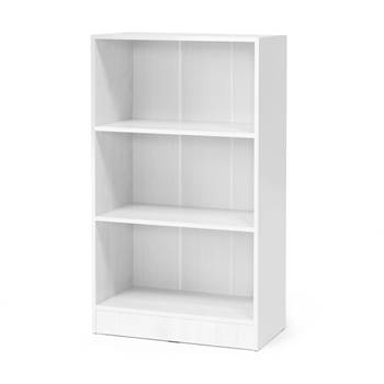 Bookcase, 3 shelves, 1325x760x415 mm, white laminate