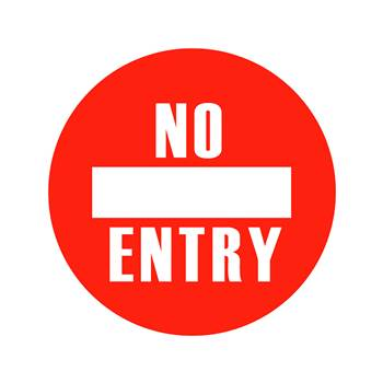 Graphic floor sign, No entry
