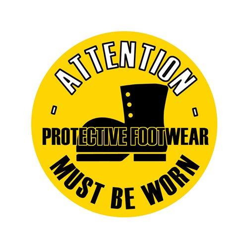 Graphic floor sign: Protective footwear