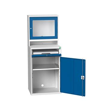 Computer workstation, enclosed, flat screen monitor