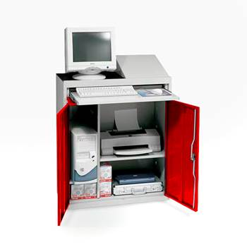 Compact computer workstation, red