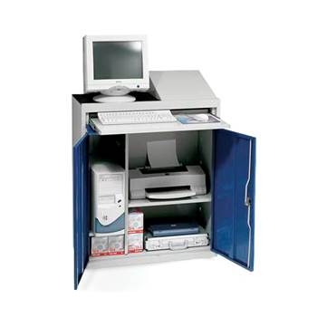 Compact computer workstation, blue