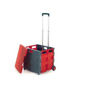 Folding box trolley with lid, 990x460x390 mm, grey and red