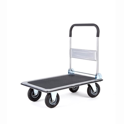 Folding platform trolley with large wheels