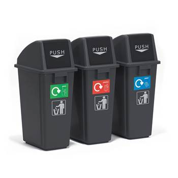 Economy recycling centre, 3 bins, 3x60 L