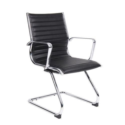 """""""Bari"""" leather visitor's chair: black"""