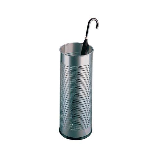 Round umbrella stand: metal: silver