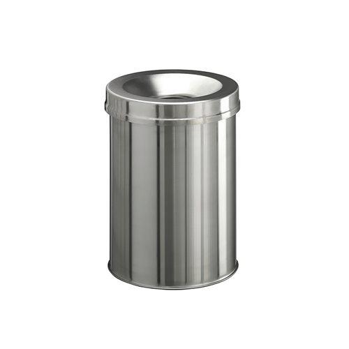 Safe round waste basket: stainless steel: 15L