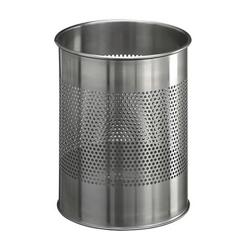Round waste bin: stainless steel: 15L