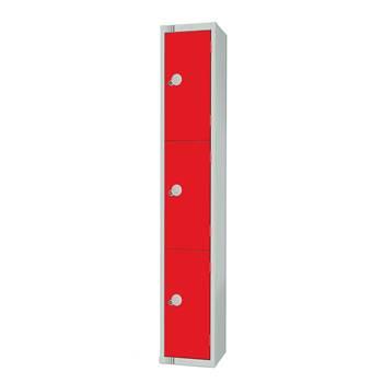 Elite locker, 3 door, 1800x300x300 mm, red