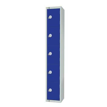 Elite locker, 5 door, 1800x300x300 mm, dark blue