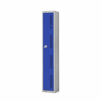 Elite perforated locker, 1 door, 1800x300x300 mm, dark blue